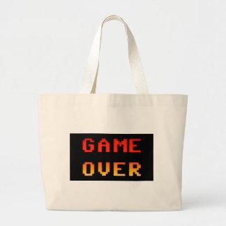Game over 8bit retro large tote bag