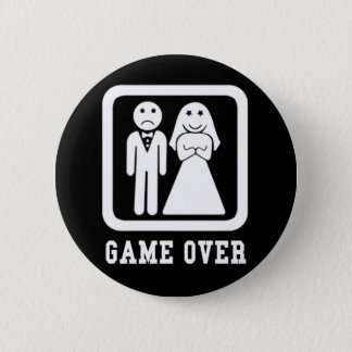 Game Over | Bachelor Stag Party Gift (Black/White) 6 Cm Round Badge