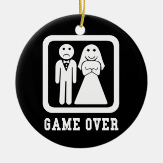 Game Over | Bachelor Stag Party Gift (Black/White) Christmas Ornament