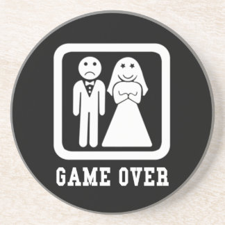 Game Over | Bachelor Stag Party Gift (Black/White) Coaster