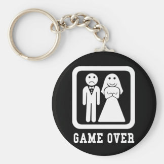 Game Over | Bachelor Stag Party Gift (Black/White) Key Ring
