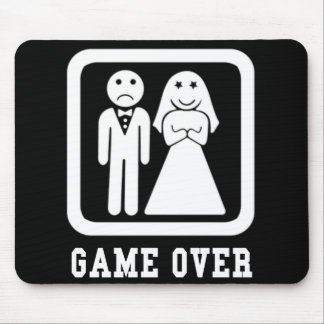 Game Over | Bachelor Stag Party Gift (Black/White) Mouse Mat