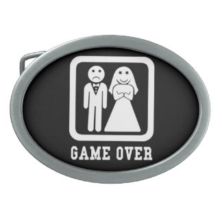 Game Over | Bachelor Stag Party Gift (Black/White) Oval Belt Buckles