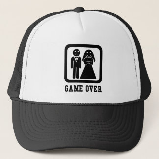 Game Over | Bachelor Stag Party Gift (Black/White) Trucker Hat