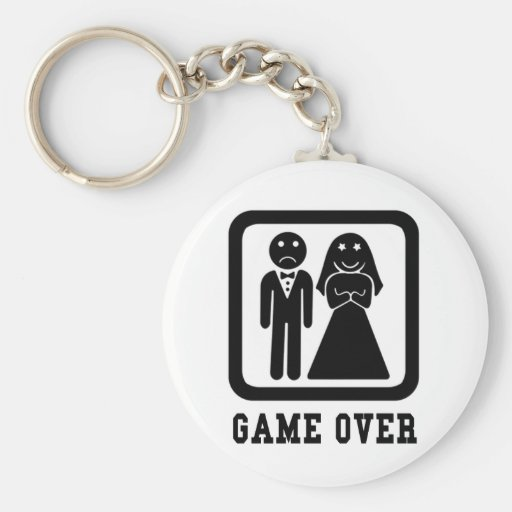 Game Over Basic Round Button Key Ring