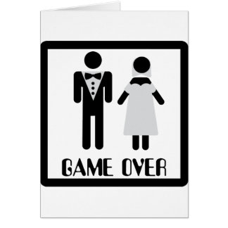 game over bridal couple icon greeting card