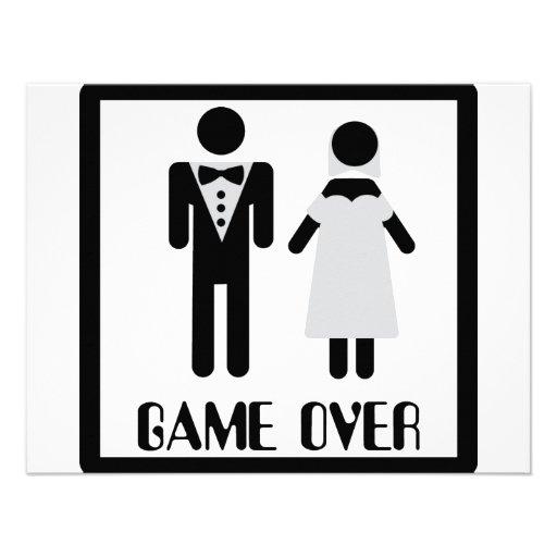 game over bridal couple icon custom invitations