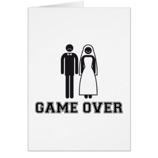 Game over, bride and groom, wedding couple card