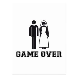 Game over, bride and groom, wedding couple postcard