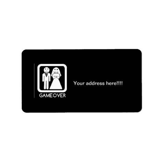 Game over Bride & Groom shipping labels