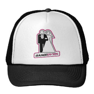 Game Over Bride / Groom TShirt (dark pink) Trucker Hats