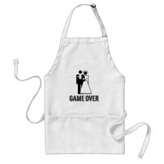 Game Over Bride Groom Wedding Apron