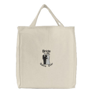 Game Over - Bride Tote Embroidered Bags