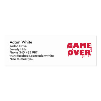 Game over business card templates