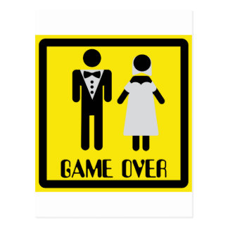 game over couple postcard