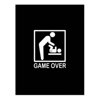 Game Over Dad Funny Pictogram Postcard