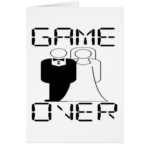 GAME OVER Funny Wedding Design Greeting Card
