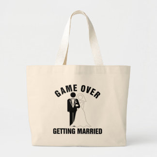 Game over getting married jumbo tote bag