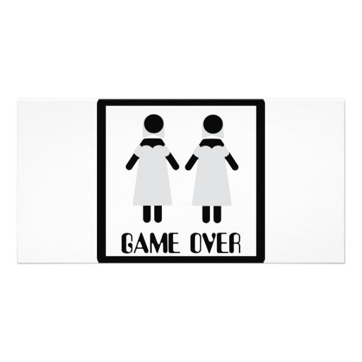 game over lesbian couple icon customised photo card