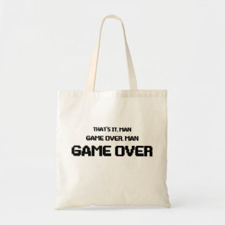 GAME OVER MAN TOTE BAGS