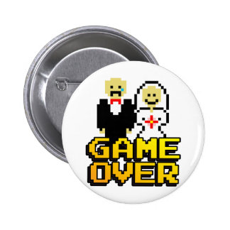Game over marriage (8-bit) 6 cm round badge