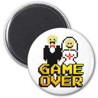 Game over marriage (8-bit) 6 cm round magnet
