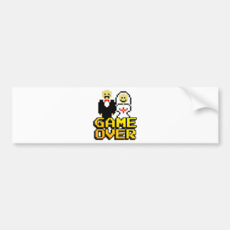 Game over marriage 8-bit bumper stickers