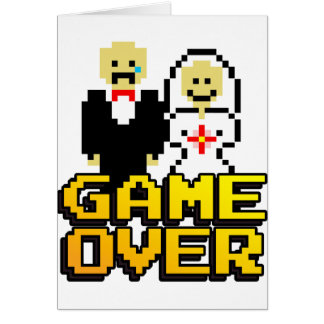 Game over marriage (8-bit) greeting cards