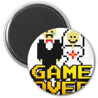 Game over marriage (8-bit) refrigerator magnets