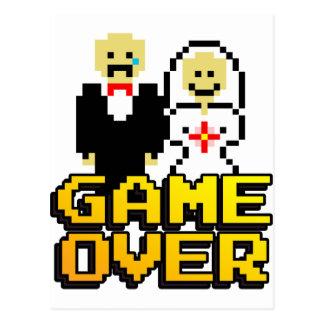 Game over marriage (8-bit) postcard