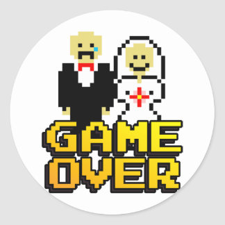 Game over marriage (8-bit) classic round sticker