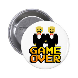 """Game Over"" Marriage (Gay, 8-bit) 6 Cm Round Badge"