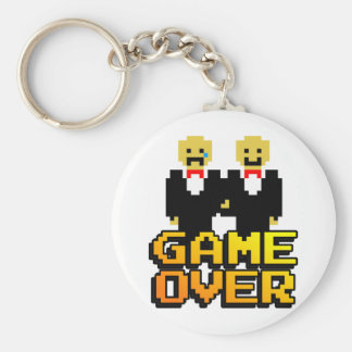 """Game Over"" Marriage (Gay, 8-bit) Basic Round Button Key Ring"