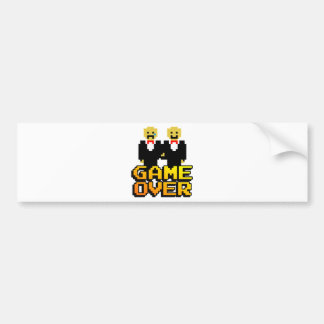 """Game Over"" Marriage (Gay, 8-bit) Bumper Sticker"