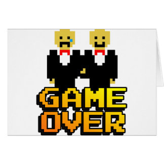"""Game Over"" Marriage (Gay, 8-bit) Greeting Card"