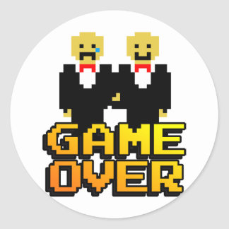 """Game Over"" Marriage (Gay, 8-bit) Round Sticker"