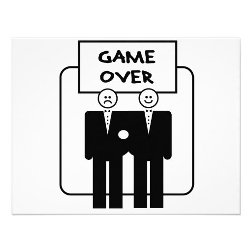 """""""Game Over"""" Marriage (Homosexual) Personalized Invitation"""