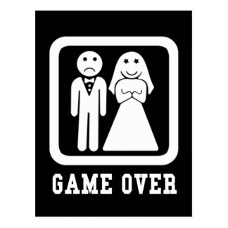 Game Over Marriage Just Married Postcard
