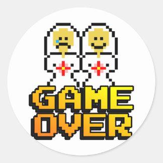 Game Over Marriage (Lesbian, 8-bit) Round Sticker