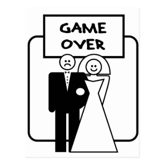 """Game Over"" marriage Postcard"