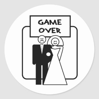 """Game Over"" marriage Round Sticker"