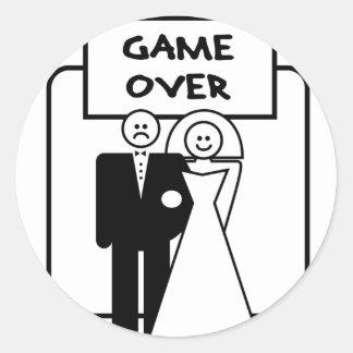 """Game Over"" marriage Round Sticker"