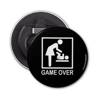 Game Over Mom Funny Black and White Pictogram Bottle Opener