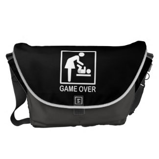 Game Over Mom Funny Black and White Pictogram Commuter Bags
