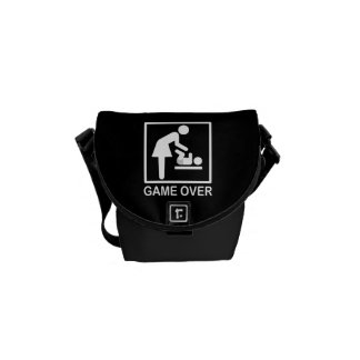Game Over Mom Funny Black and White Pictogram Courier Bag
