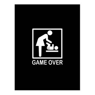 Game Over Mom Humorous Signage Postcard