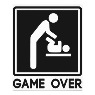 Game Over New Baby for Parent Dad 11.5 Cm X 14 Cm Flyer
