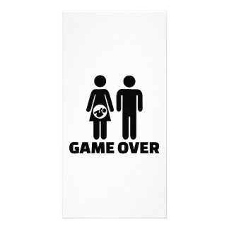 Game over pregnant baby custom photo card