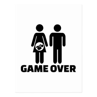Game over pregnant baby post cards