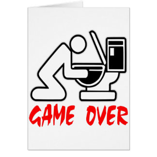Game Over Puking Greeting Card